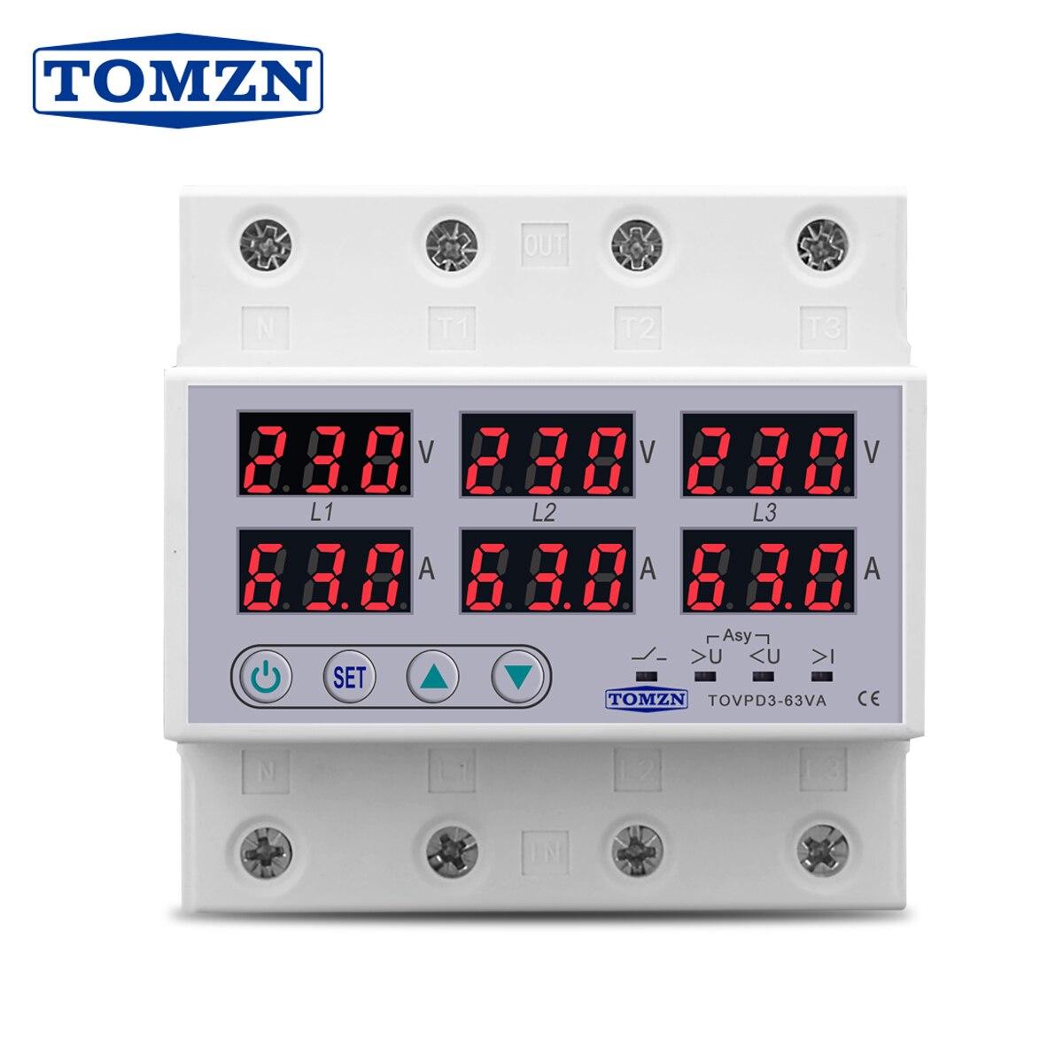 3 Phase 380V Din rail Voltmeter Ammeter adjustable Over and Under Voltage current limit protection Monitor Relays Protector